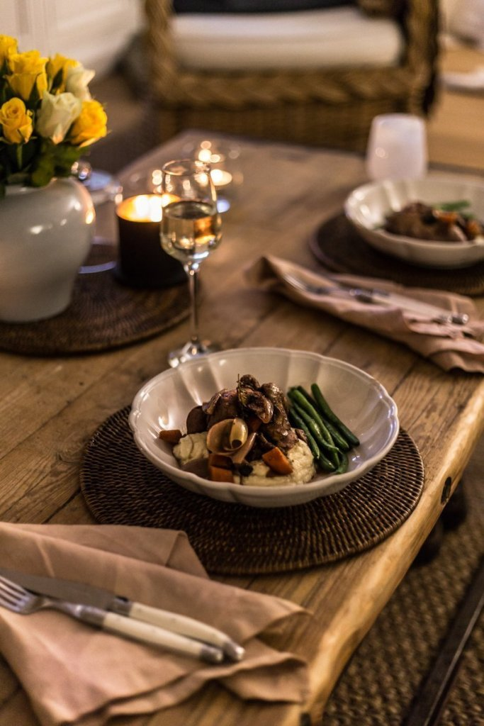 Cottonwood and Co - Ina Garten's keto Coq Au Vin with cauliflower puree and green beans