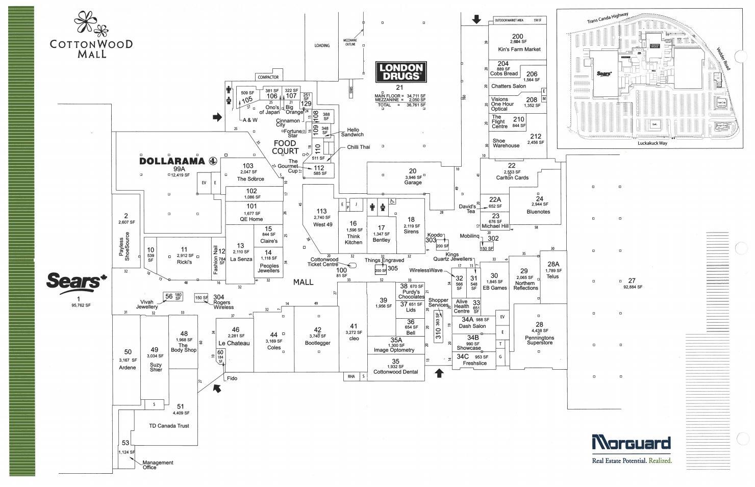 Big Mall Map Cottonwood Centre