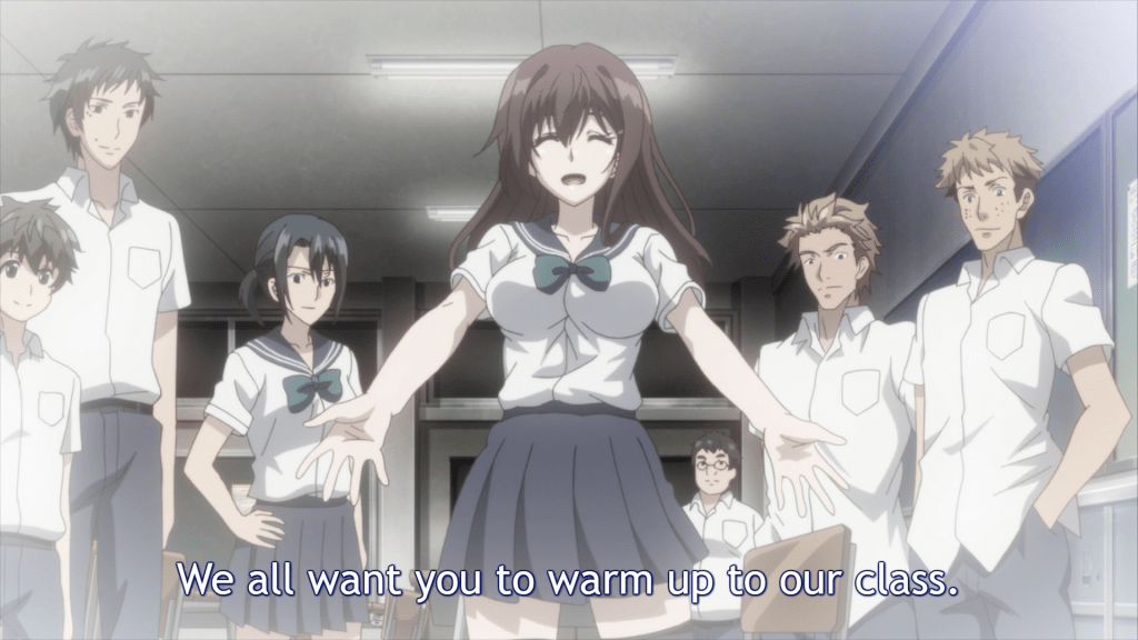 Natsuko leading the class to be friends with Nobuaki