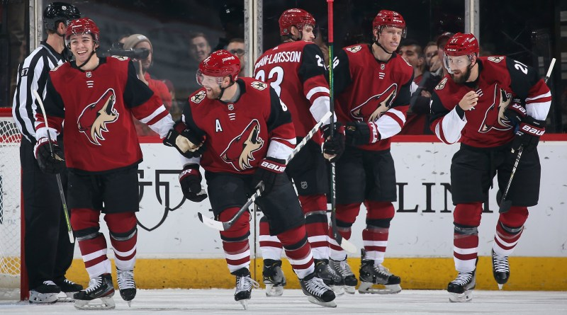 Coyotes celebrate a goal at home.