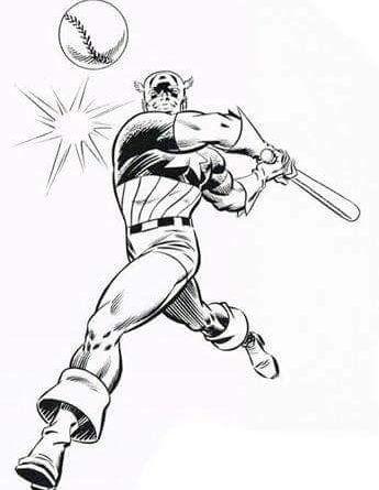 Captain America hitting a baseball