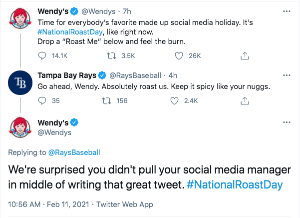 A screenshot of a conversation between Wendy's and the Tampa Bay Rays on #NationalRoastDay. Twitter