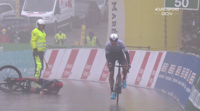 Moments after Geraint Thomas crashes, Michael Woods takes victory during stage four of the 2021 Tour de Romandie