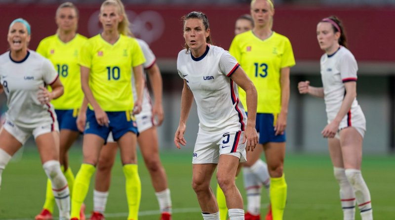 USWNT players Lindsey Horan, Kelley O'Hara and Rose Lavelle (L to R) are pictured during their Olympic tournament opener against Sweden