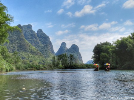 Bamboo rafting Yulong river Yangshuo China