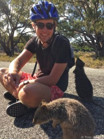 Rottnest Island - Timo and curious quokkas