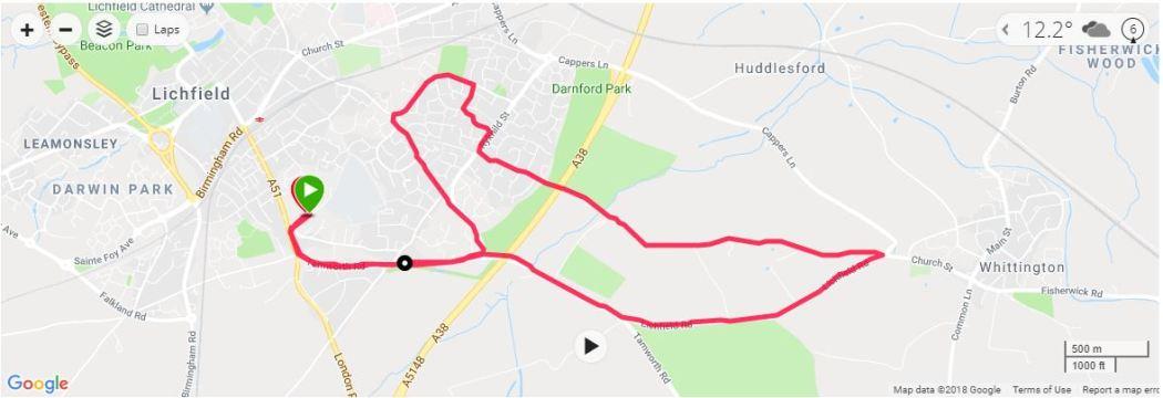 Lichfield 10k Map