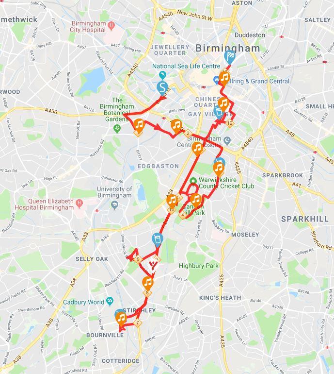 Simplyhealth Birmingham Half Marathon 2018 Map