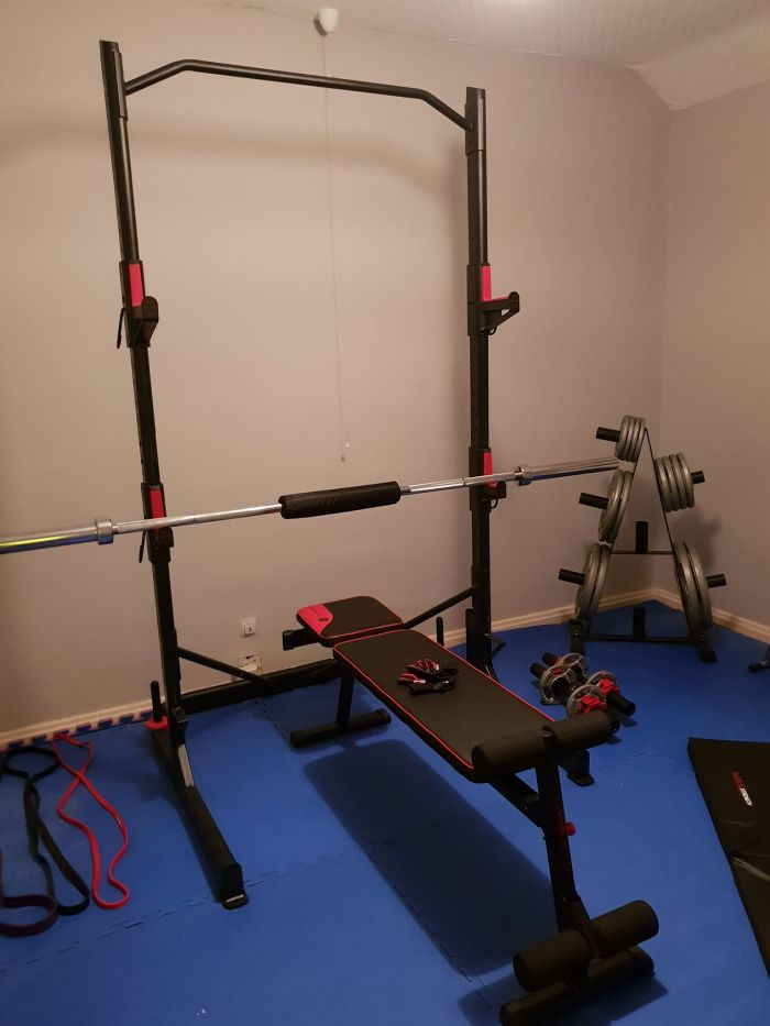 Squat Rack, Bench and Barbell