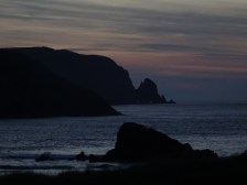 Looking back at Cape Wrath at sunset.