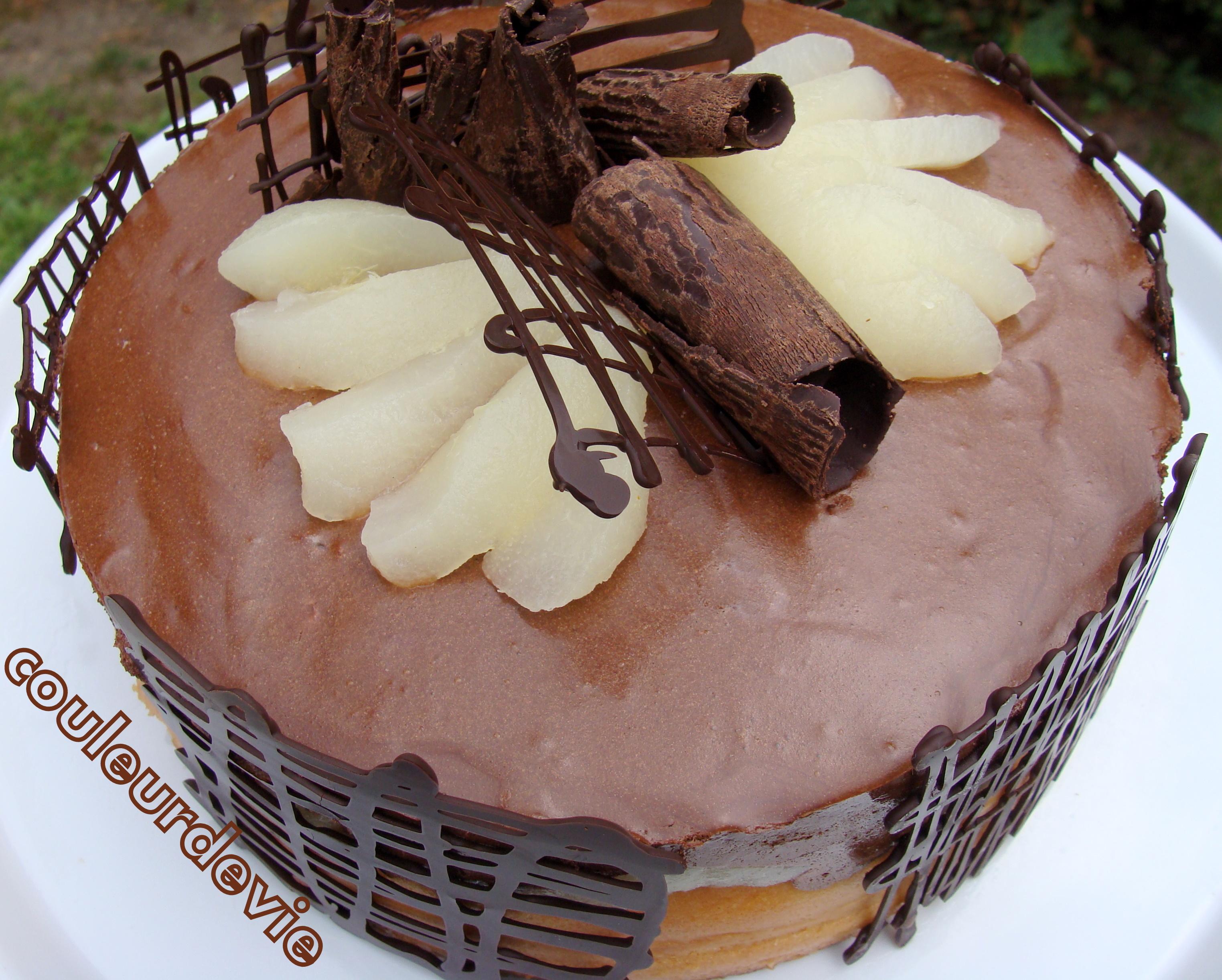 gateau mousseux chocolat poire