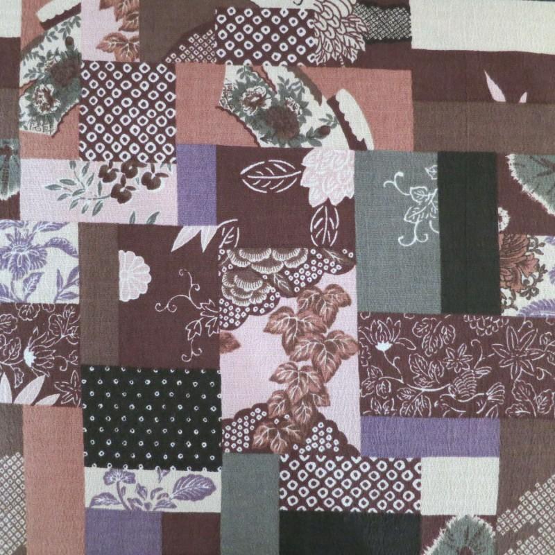 tissu japonais fluide type foulard marron patchwork de motifs anciens