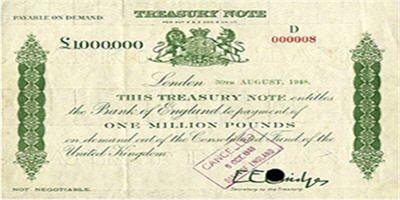 Le billet le plus cher a été émis par la banque centrale britannique, la Banque d'Angleterre, et valait un million de livres. Il a été émis en 1948, dans le cadre de la politique de reconstruction après la deuxième guerre mondiale.