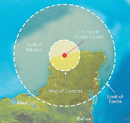 Chicxulub crater carte du cratère et de l'impact