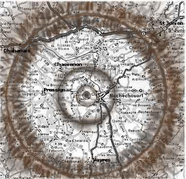 Chassenon-Rochechouart carte de l'impact