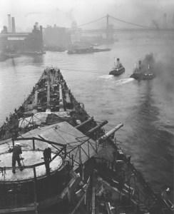 USS Iowa leaving New York Navy Yard. National Archives photo