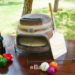 outdoor pizza oven wood burning fired terracotta clay brick table counter top