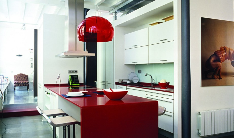red silestone countertop
