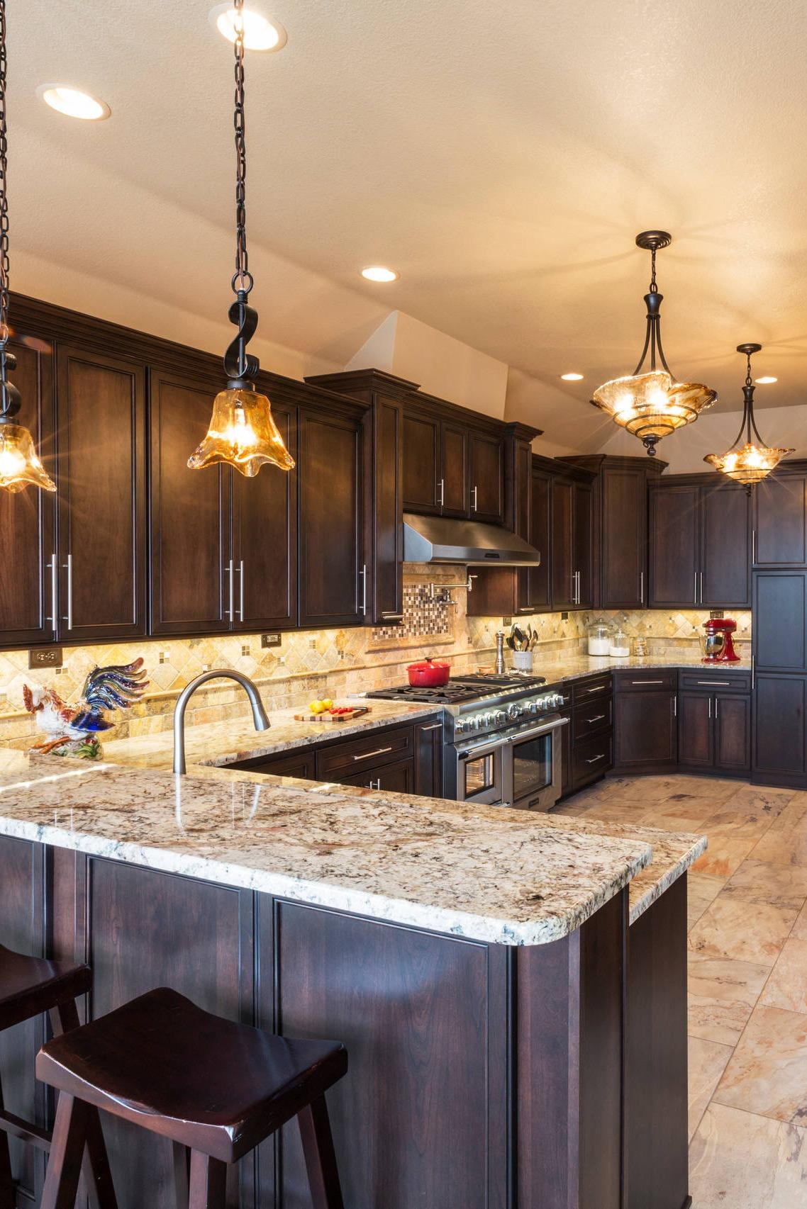 38 Popular White Granite Countertop Dark Cabinets on Backsplash For Dark Granite Countertops  id=14184