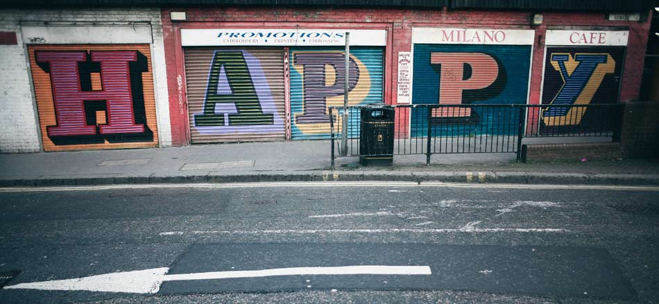 aldgate, london; street art: happy
