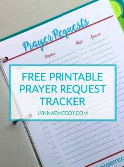 Free Printable Prayer Request Tracker