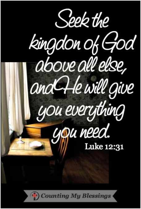 Seek the Kingdom of God above all else, and He will give you everything you need. So don't be afraid, little flock. For it gives your Father great happiness to give you the Kingdom.