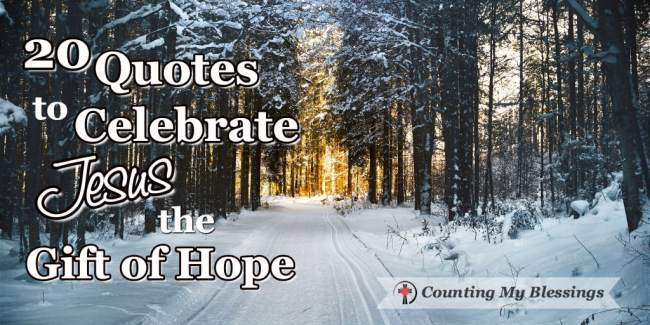 20 of the best Christmas Quotes to Celebrate Jesus, the Gift of Hope. The One who gives us everything we need today, tomorrow, and always. #Christmas #Jesus #Hope #Faith #WWGGG #CountingMyBlessings