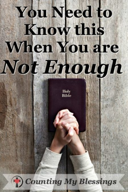 """A woman praying with her Bible asking God to be greater than her """"not enough."""" #Bible #Faith"""
