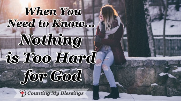 "The Bible says, ""Nothing is too hard for God."" Can you imagine the difference it could make in our lives if we really believed that? #Faith #Prayer #NothingisImpossible"
