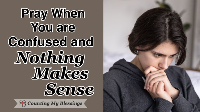 When life is confusing and nothing makes sense, it's a blessing to take every care and concern to God in prayer trusting Him to give us whatever we need. #Prayer #Faith #Hope #MentalHealth #NothingMakesSense #WWGGG #CountingMyBlessings