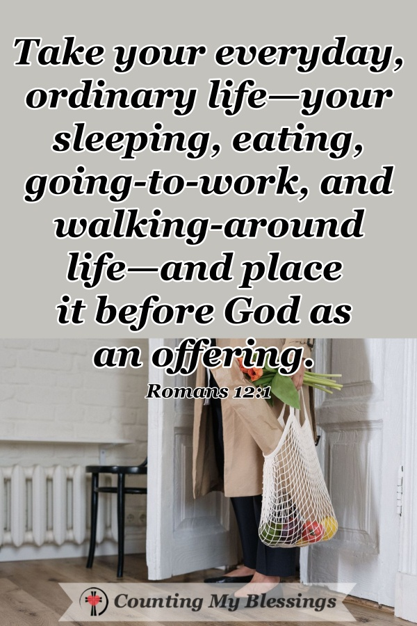 The Bible says to worship every day by taking our ordinary sleeping, eating, going to work lives, and giving them to God as an offering ... here are 12 ways. #WorshipGod #WWGGG #CountingMyBlessings #HisGraceGirls