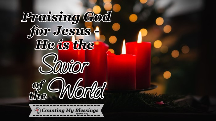 Verses and prayers that thank God for Jesus, the Savior of the World. The One who is the Lamb of God, who saves and delivers all who come to Him in faith. #Prayers #Christmas #Advent #Faith #Jesus #HopeoftheWorld #CountingMyBlessings