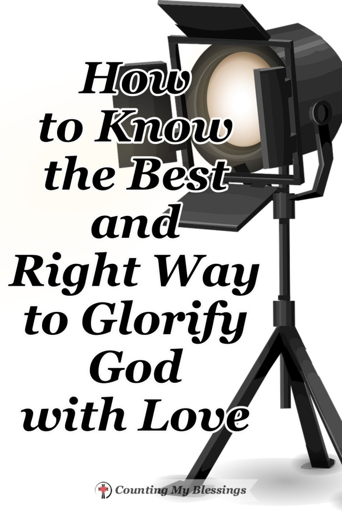 What does it mean to glorify God? Jesus lived and loved people in a way that showed us God's love and pointed a spotlight on God's glory. #GlorifyGod #WWGGG #CountingMyBlessings #God'sLove