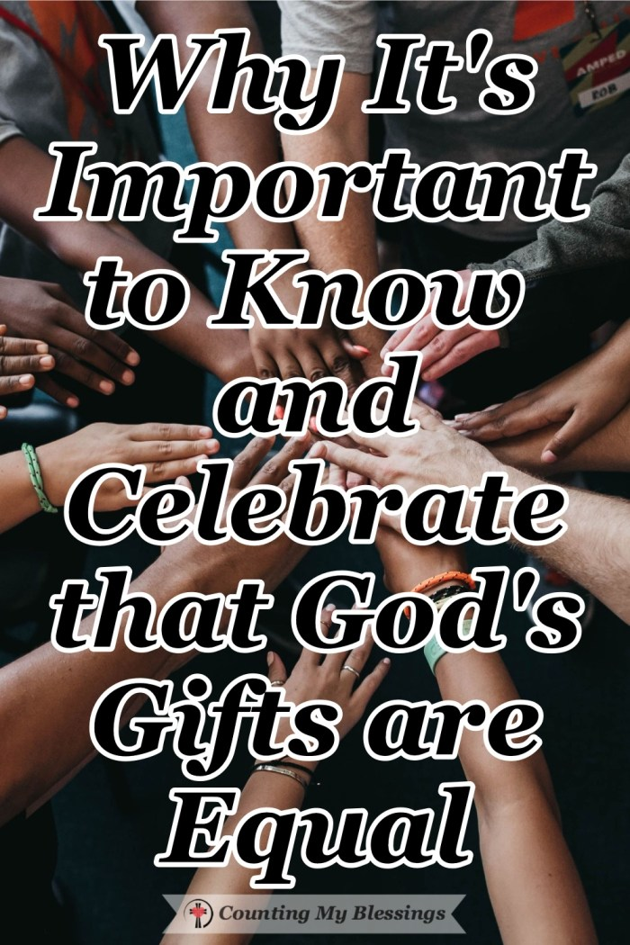God gives each person a spiritual gift. His gifts are different yet, in the kingdom, they are needed, precious, and equal. Equal gifts for different purposes. #SpiritualGifts #Church #BibleStudy #Equality #Blessings