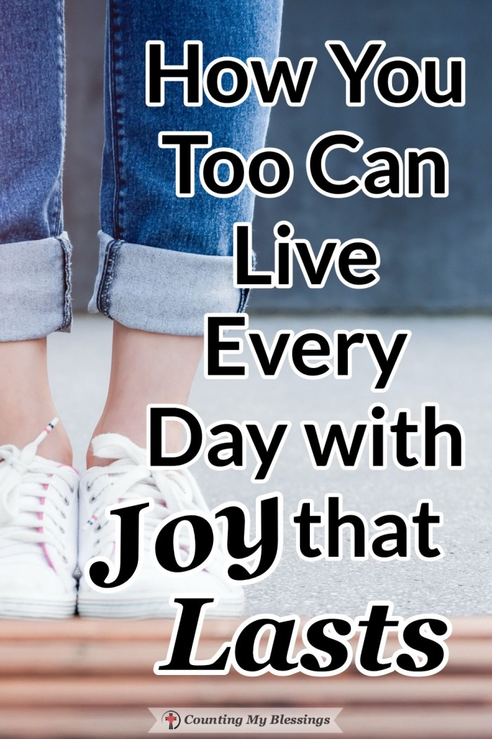 Doesn't everyone want to live with joy that lasts? So much of life wants to steal that joy. What if there were someone who could make lasting joy possible? #BibleStudy #Faith #Livewithjoy #Blessings