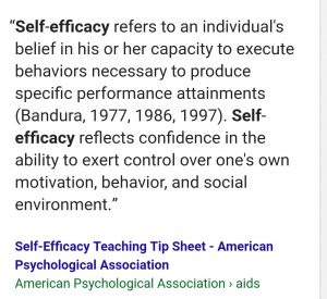 Self-efficacy - the belief that you can exert control over your behavior and environment