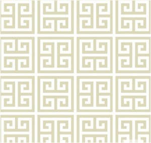 Greek Key jumbo in taupe and white
