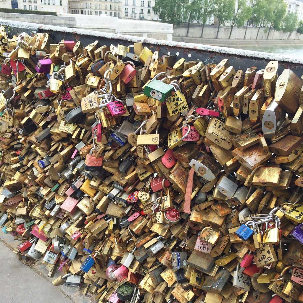 Love Padlocks along the Seine River Bridges in Paris