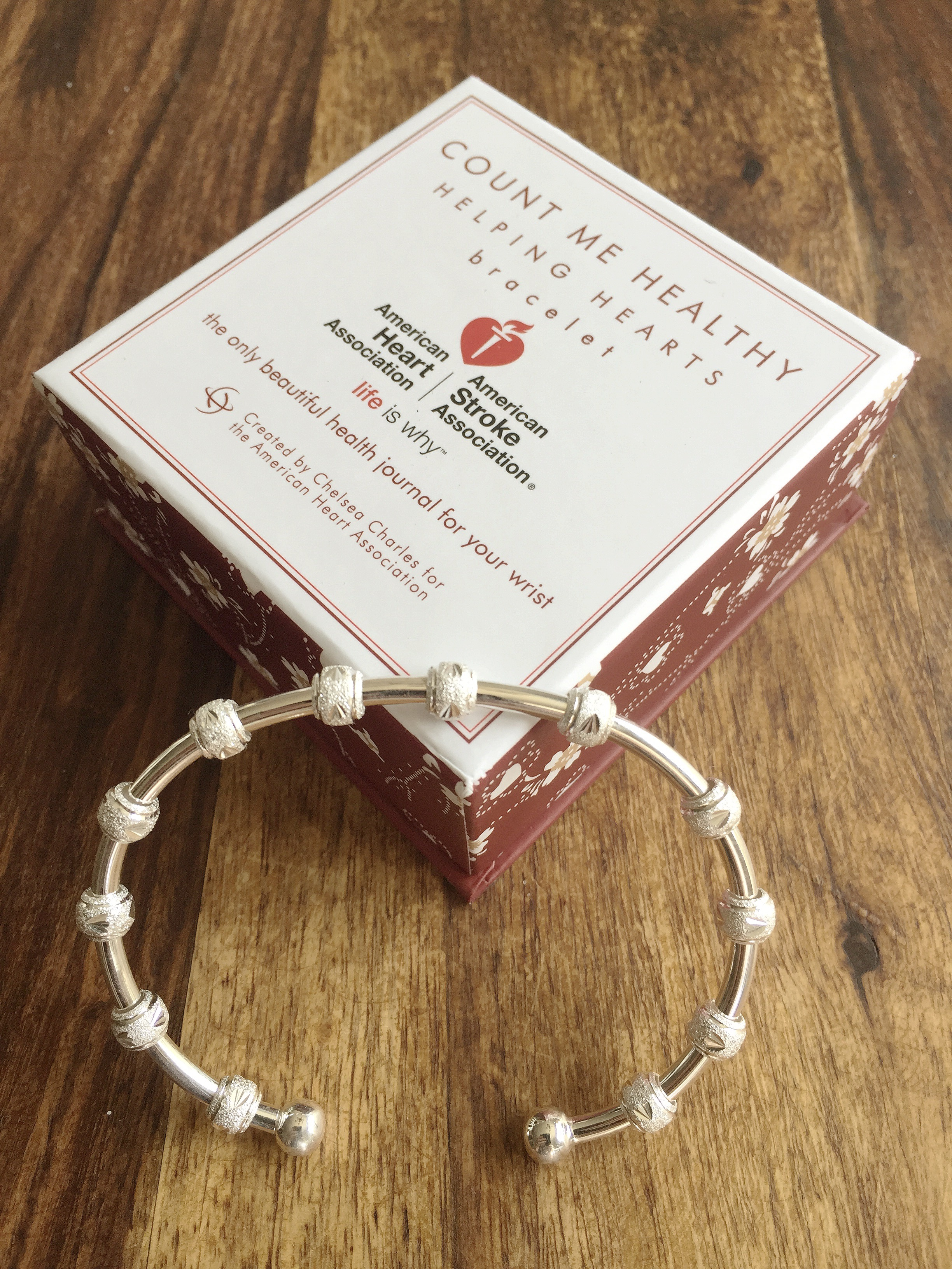 Count Me Healthy bracelet for the American Heart Association