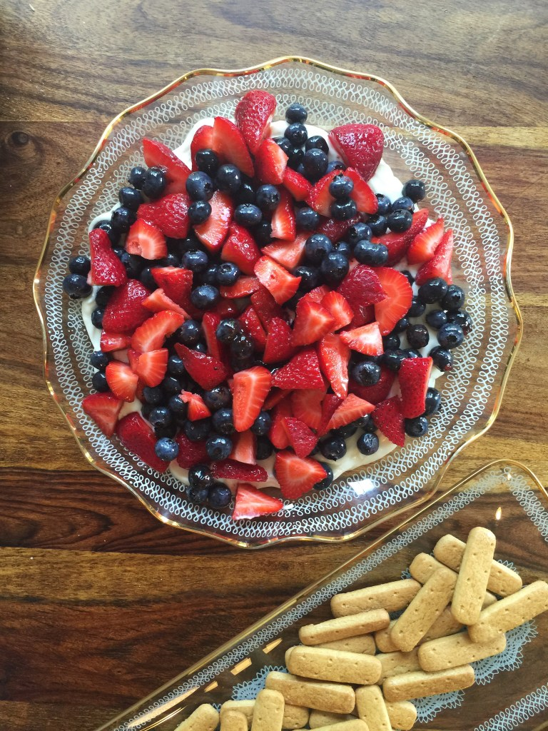 Chelsea Charles' recipe for red, white and blueberry cheesecake dip via Count Me Healthy