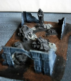 A damaged temple made from Lord of the Rings terrain
