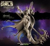 3d sculpt of a Dark Elf Sorceress