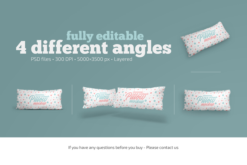 long rectangular pillow mockup set