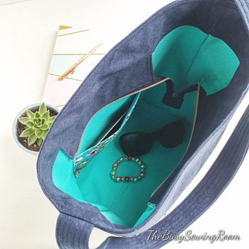 Top View Deyjon Zip Top Bucket Bag Made by The Busy Sewing Room
