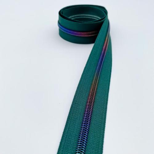 British Racing Green Rainbow Zipper Tape