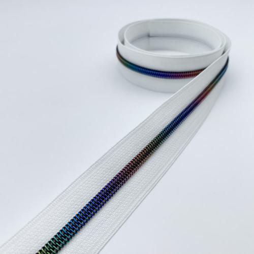 White Rainbow Zipper Tape
