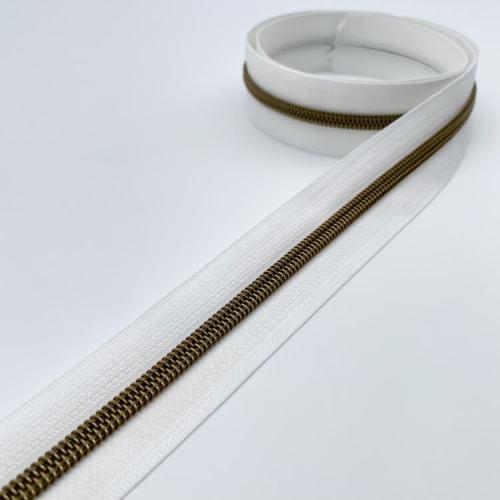 White Brass Zipper Tape