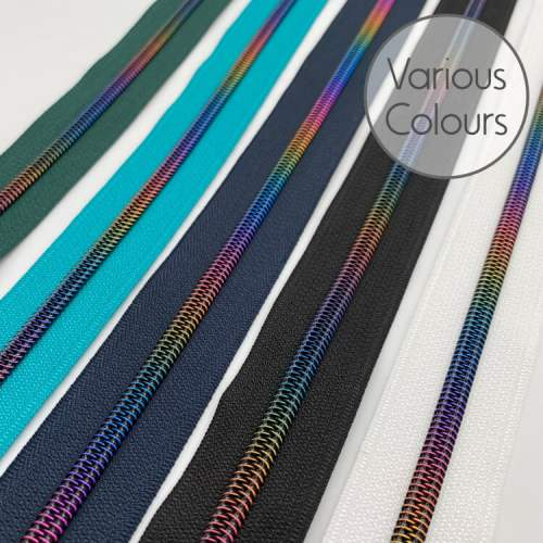 Rainbow Zipper Tape by the Metre