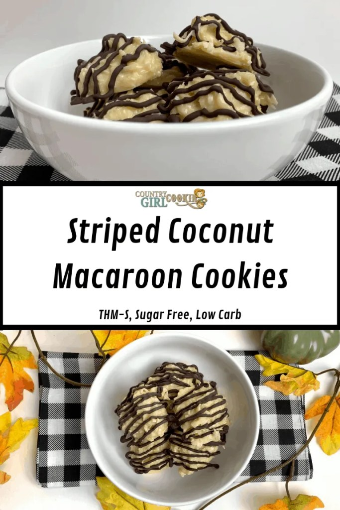 Striped Coconut Macaroon Cookies (THM-S, Sugar Free, Low Carb)