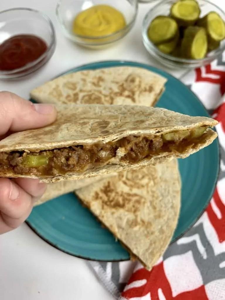 Cheeseburger Quesadillas (THM-S, Low Carb)